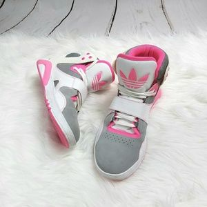 Adidas Roundhouse Hot Pink & Gray Sneakers